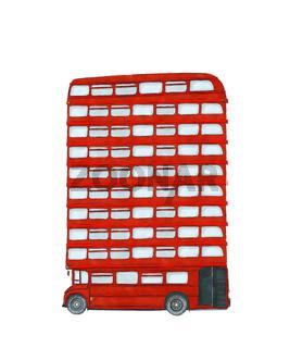 Watercolor english bus