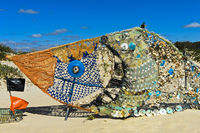 Fish, sculpture made of shells and garbage collected on the beach, eco-art, Tavira, Algarve,Portugal