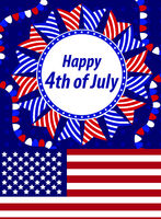 Happy 4th july greeting card, poster. American Independence Day template for your design. Vector illustration