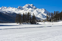View across the frozen lake Champfersee to the peak Gipfel Piz de la Margna, Engadin, Switzerland