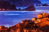 Tossa de Mar Town at Dusk on Costa Brava