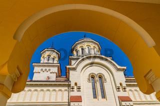 Beautiful view to the Coronation Reunification Cathedral in Alba Iulia city, Romania. A church a sunny day in Alba Iulia, Romania
