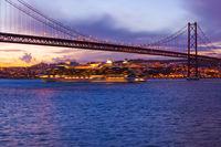 25th of April Bridge and ship - Lisbon Portugal