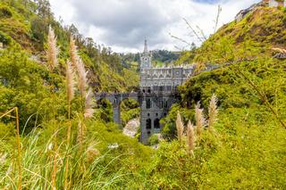 Sanctuary of Las Lajas panoramic of location Ipiales