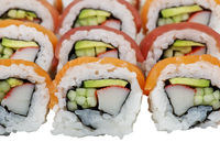 Sushi rolls with salmon and tuna on white background