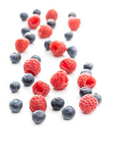 Blueberries and raspberries. Tasty mix of berries.