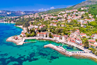 Adriatic village of Mlini waterfront aerial view