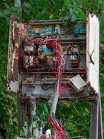 Chaotic wiring junction box open