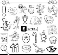 E is for educational task coloring book