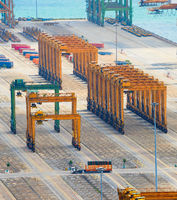 Empty commercial Singapore cargo port