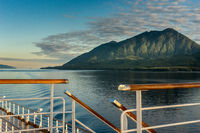 Railing and stairs, top deck of cruise ship, early morning, Inside Passage route.