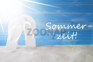 Sunny Background, German Sommerzeit Means Summer Time