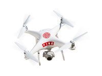 Fire Department Unmanned Aircraft System, (UAS) Drone Isolated On A White Background