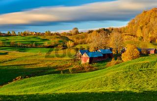 Jenne Farm with barn at sunny autumn morning