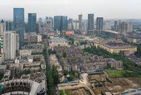 Chengdu skyline aerial view in daylight