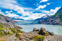 View of Grey Glacier with Iceberg floating in Grey Lake at Torres del Paine National Park in Souther