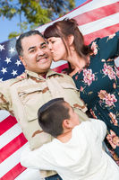 Male Hispanic Armed Forces Soldier Celebrating His Return Holding American Flag