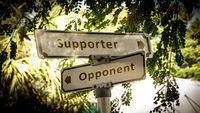 Street Sign Supporter versus Opponent
