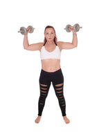 Beautiful woman lifting the dumbbells up