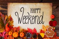 Old Paper With Happy Weekend, Colorful Autumn Decoration
