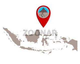 Karte von Indonesien und Pin mit Erdbebensymbol - Map of Indonesia and pin with earthquake symbol
