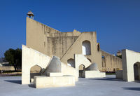 architectural astronomical instruments in Jantar Mantar observatory (completed in 1734), Jaipur, Ind