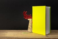 a yellow green note book with hidden reindeer on a wooden table