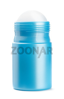 Front view of blue roll on deodorant bottle