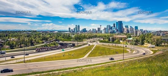 Skyline of Calgary Alberta in Canada