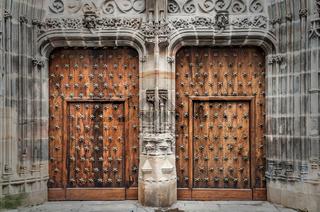 Old wooden door in a medieval building