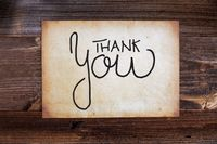 Old Paper, Calligraphy Thank You, Wooden Background