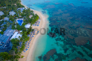 Tropical beach of Dominican republic from above