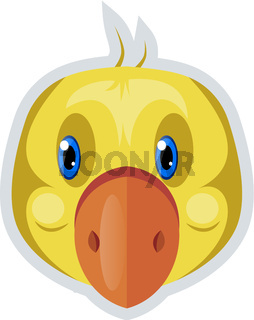 Little yellow duck, illustration, vector on white background.