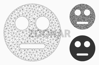 Neutral Smiley Vector Mesh Wire Frame Model and Triangle Mosaic Icon