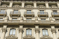 balconies with Corinthian style columns, Facades and traditional architecture in the old town of Barcelona, Spain
