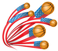usa shape flag with basketball
