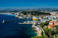 view over Nice harbour and bay with gorgeous blue skies