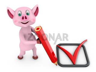 pig with pencil