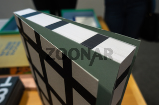 Digitally Printed Edges of Book White Black Grid Pattern Innovative Printing Feature