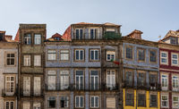 Detail of old homes and apartments in downtown Porto