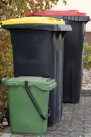 Dustbins in different colors for waste separation