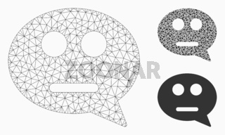 Neutral Smiley Message Vector Mesh 2D Model and Triangle Mosaic Icon