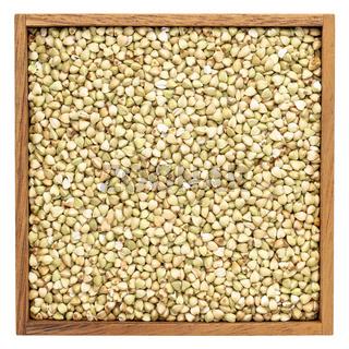buckwheat groats in wooden box