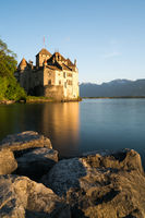 Montreux, VD / Switzerland - 31 May 2019: the historic Chillon Castle on the shores of Lake Geneva