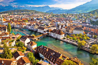 City of Luzern riverfront and rooftops aerial view