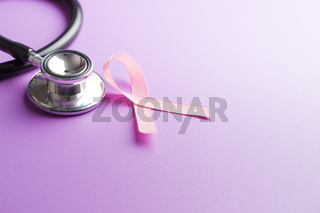 Pink breast cancer ribbon. Breast cancer symbol.