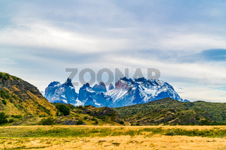 Scenic view of beautiful Cuernos del Paine mountains in Torres del Paine National Park