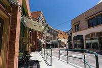 Bisbee, AZ / United States - July 12, 2016: downtown Bisbee in southern Arizona on a deserted and qu