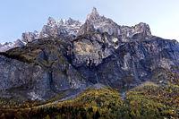 Peak Corne de Chamois, Cirque du Fer a Cheval, Sixt-Fer-a--Cheval, Giffre Valley,Haute-Savoie,France