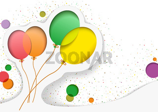 Birthday Card with Balloons in the Style of Cutouts